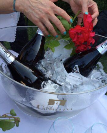 bottles of Filos Spumante in an ice bucket
