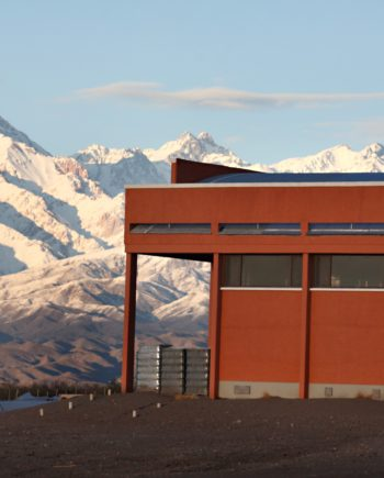 Zorzal Winery with Andes Mountains in the background